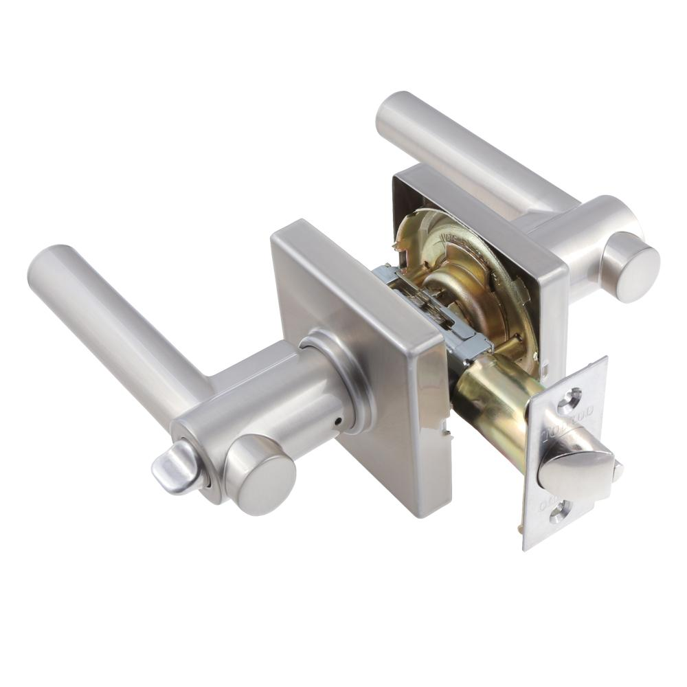 European Satin Nickel Girona Privacy Bed/Bath Door Lever Set