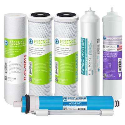 Essence Complete Replacement Filter Set for ROES-PHUV75 pH Enhanced UV Sanitizing 7-Stages RO Water System