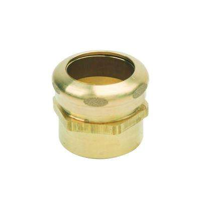 1-1/4 in. O.D. Compression x 1-1/4 in. I.D. Female Sweat Brass Waste Connector with Rough Finish
