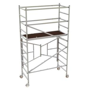 MetalTech 6 ft. x 2.6 ft. x 5.4 ft. Easy-Set Scaffold Tower with Guardrails 792 lbs. Load Capacity by MetalTech