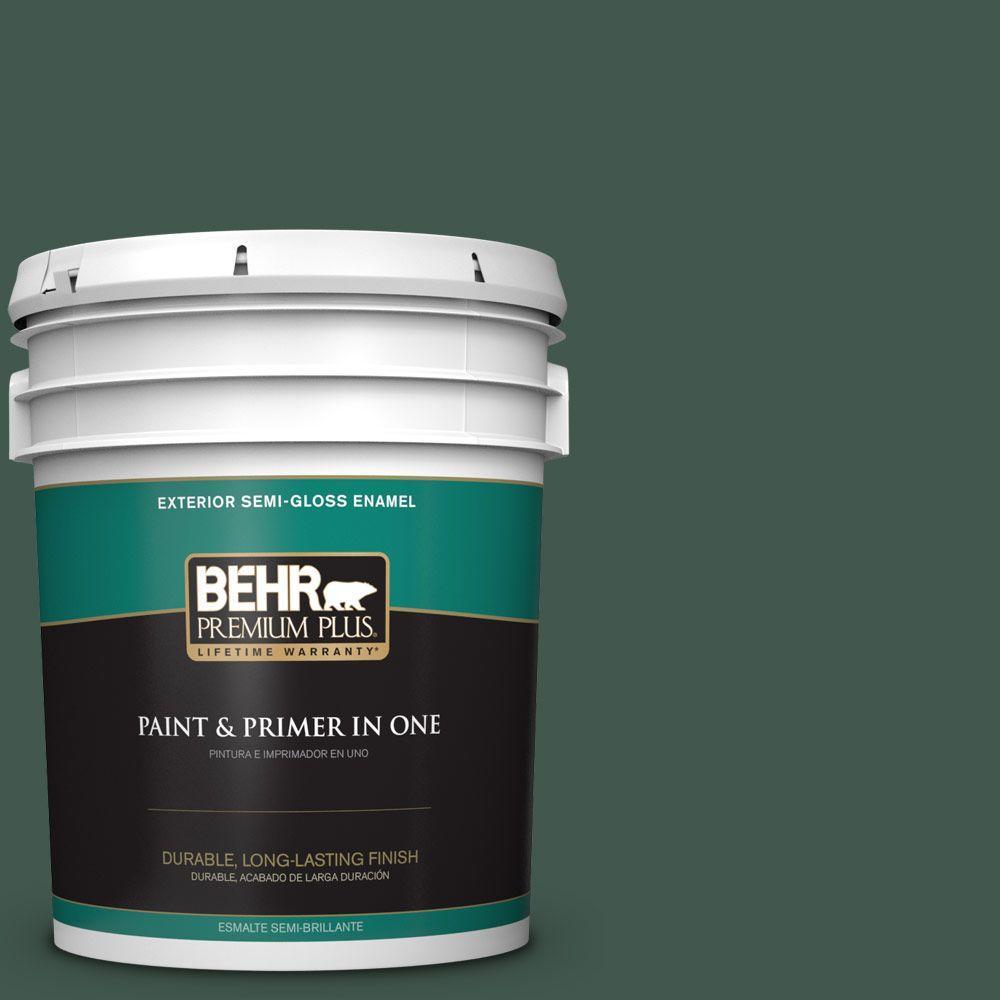 5-gal. #BXC-33 Jolly Green Semi-Gloss Enamel Exterior Paint