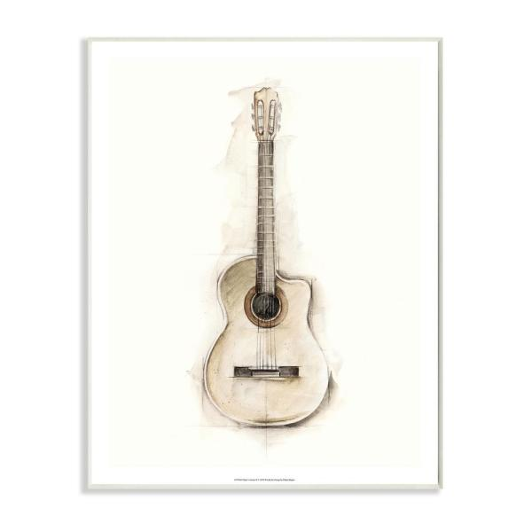 Stupell Industries Acoustic Guitar Watercolor Drawing Design By Ethan Harper Wood Abstract Wall Art 19 In X 13 In Sae 111 Wd 13x19 The Home Depot