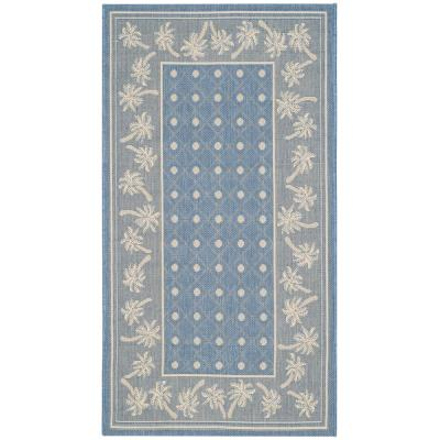 Courtyard Blue/Ivory 3 ft. x 5 ft. Indoor/Outdoor Area Rug
