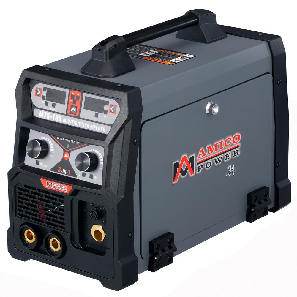 AMICO POWER 165 Amp MIG Wire Feed/Flux Core/TIG Torch/Stick Arc Welder, Weld Aluminum w/ 2T/4T 110-Volt/230-Volt Welding