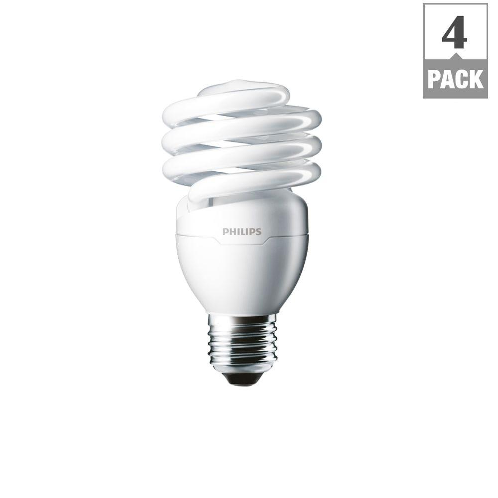 Philips 100w Equivalent Daylight Deluxe T2 Twister Cfl Light Bulb 4 Pack 433557 The Home Depot