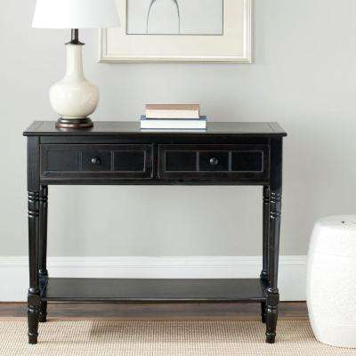Exceptionnel Samantha Distressed Black Storage Console Table
