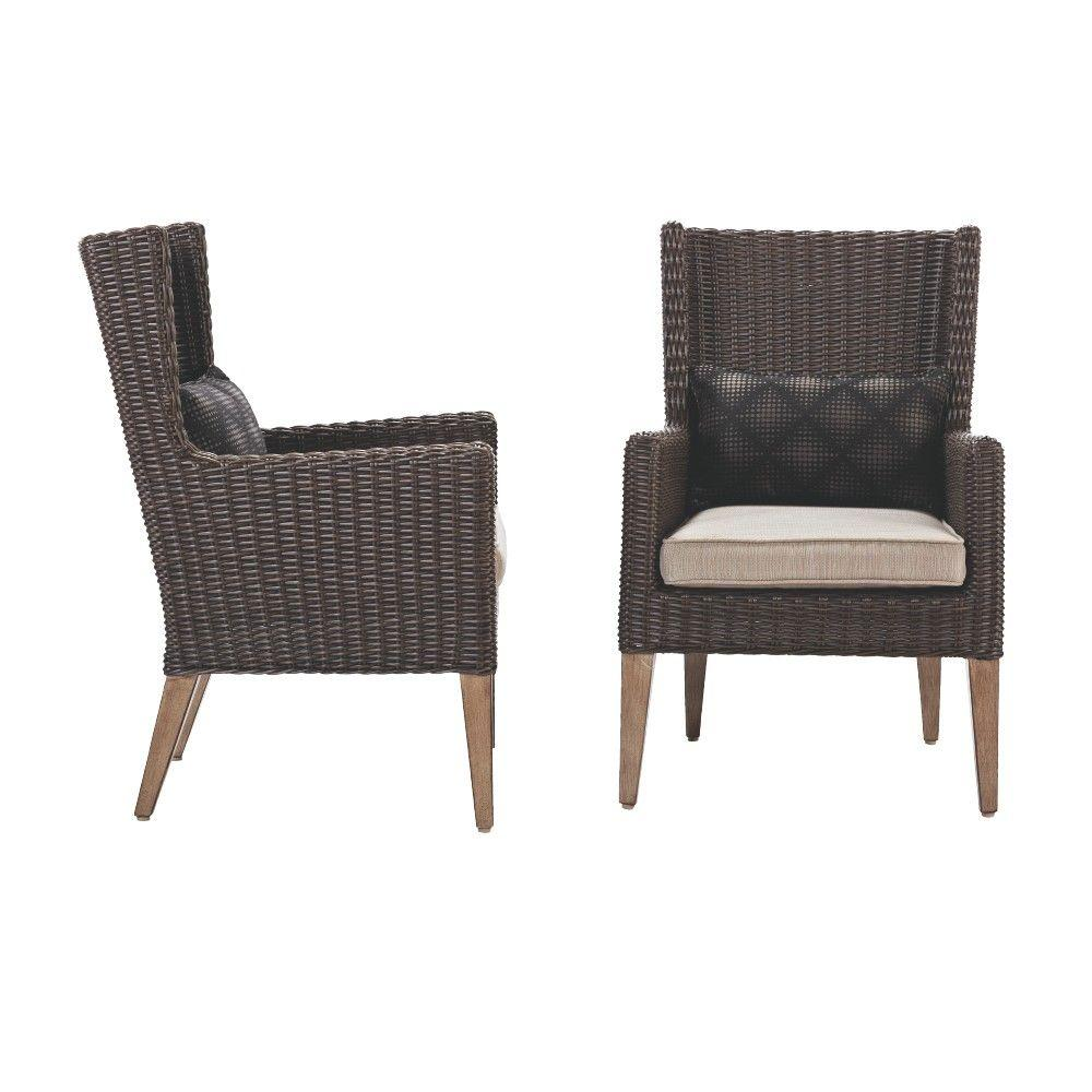 Wondrous Home Decorators Collection Naples Brown All Weather Wicker Outdoor Wingback Dining Chair With Putty Cushions Set Of 2 Pabps2019 Chair Design Images Pabps2019Com