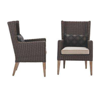 Naples Brown All-Weather Wicker Outdoor Wingback Dining Chair with Putty Cushions (Set of 2)