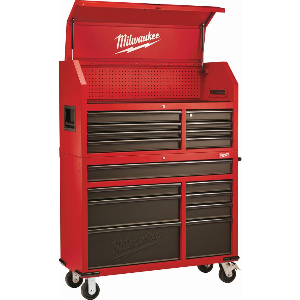 Milwaukee 46 in. 16-Drawer Steel Tool Chest and Rolling Cabinet Set, Textured Red and Black Matte