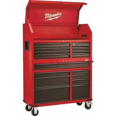 46 in. 16-Drawer Steel Tool Chest and Rolling Cabinet Set, Textured Red and Black Matte