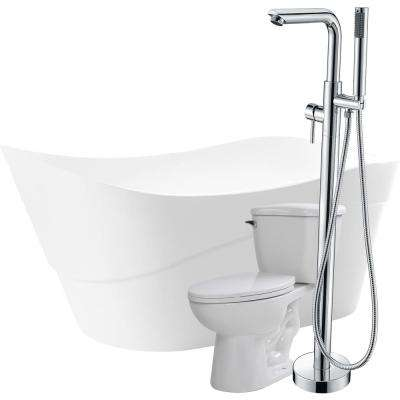 Kahl 67 in. Acrylic Flatbottom Non-Whirlpool Bathtub in White with Sens Faucet and Kame 1.28 GPF Toilet