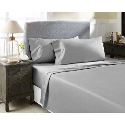 Grey T1000 Solid Combed Cotton Sateen California King Sheet Set