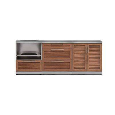 Natural Cherry 4-Piece 92 in. W x 36.5 in. H x 24 in. D Outdoor Kitchen Cabinet Set with Countertop and Covers