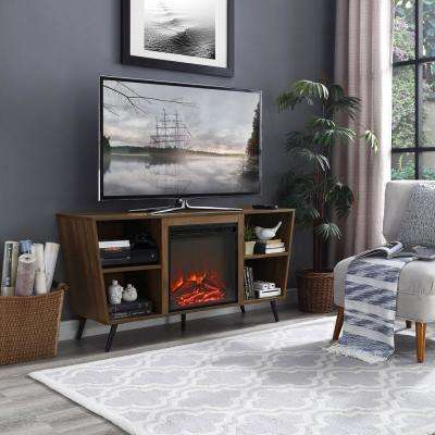 52 in. Dark Walnut Angled Side Fireplace Console with Metal Legs