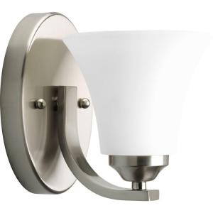 Adorn Collection 1-Light Brushed Nickel Bath Sconce with Etched Glass Shade