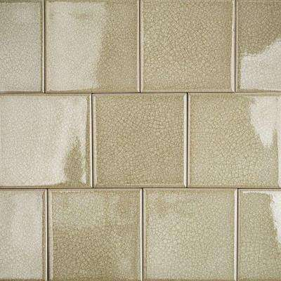 Roman Selection Iced Tan Glass Mosaic Tile - 4 in. x 4 in. Tile Sample