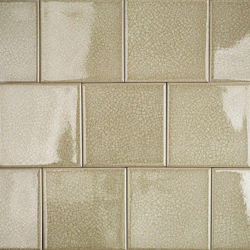 Splashback Tile Roman Selection Iced Tan Glass Mosaic Tile - 4 in. x ...