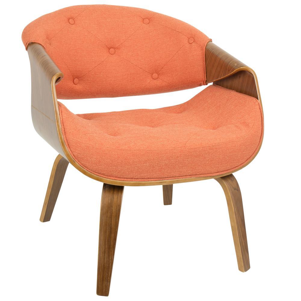 Lumisource Curvo Mid Century Orange Modern Tufted Accent Chair