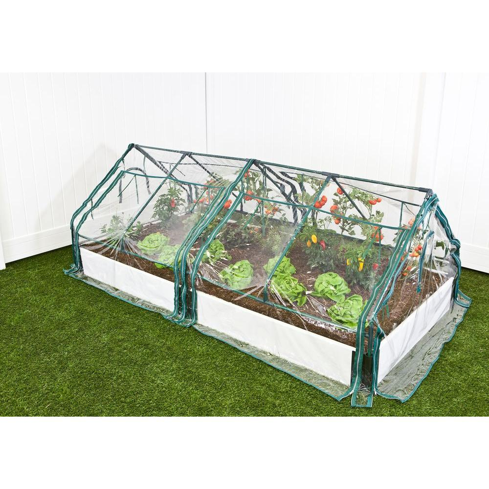 Frame It All 4 ft. x 8 ft. x 16 in. White Composite Raised Garden Bed Kit with Two Greenhouses