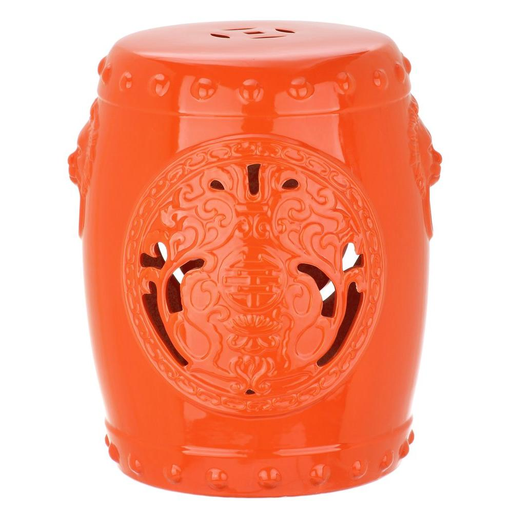 Dragon Coin Orange Ceramic Garden Stool