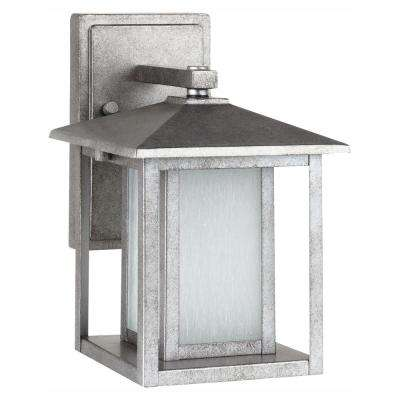 Hunnington 1-Light Weathered Pewter Outdoor 11 in. Wall Lantern Sconce