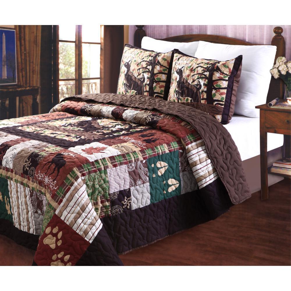 Whitetail Lodge 3-Piece Multi King Quilt Set