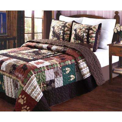 Whitetail Lodge 3-Piece Multi Full and Queen Quilt Set