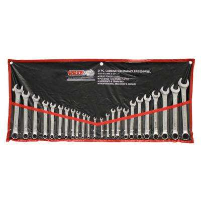 Grip MM/SAE Chrome Plated Combination Wrench Set (24-Piece)