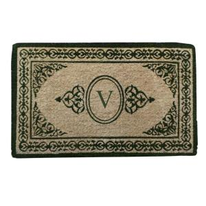 A1HC First Impression Decorative Border Green Filigree 22 inch x 36 inch Extra Thick Coir... by
