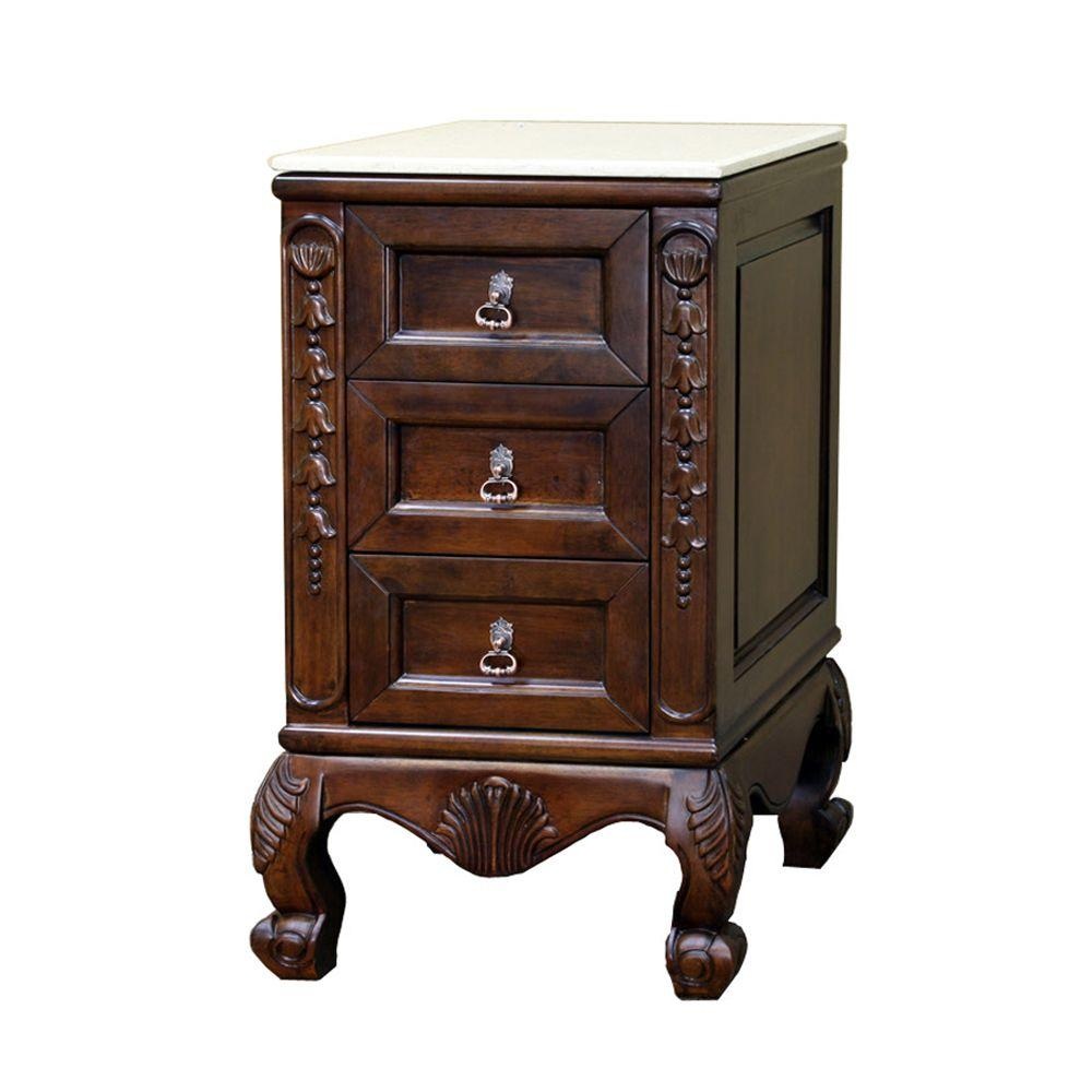 Bellaterra Home Wright 20 in. W x 34 in. H x 19 in. D Side Chest Cabinet with Marble Top in Medium Walnut