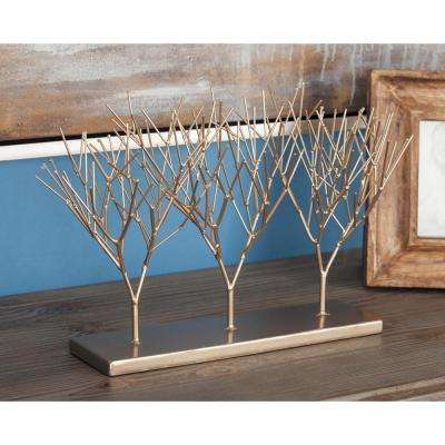 10 in. Tree Decorative Sculptures in Gold