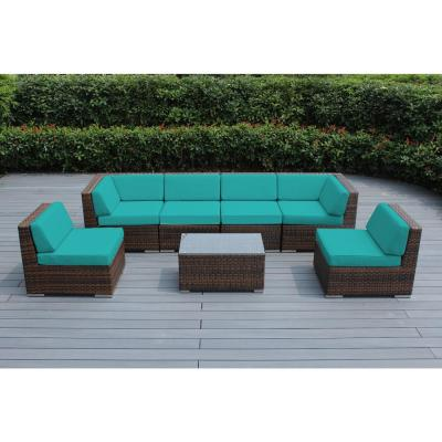 Ohana Depot Mixed Brown 7 Piece Wicker Patio Seating Set With Supercrylic Turquoise Cushions Pn7037mb Tq The Home Depot