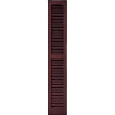 12 in. x 72 in. Louvered Vinyl Exterior Shutters Pair in #167 Bordeaux