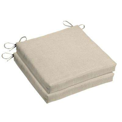 Sunbrella Canvas Flax Square Outdoor Seat Cushion (2-Pack)