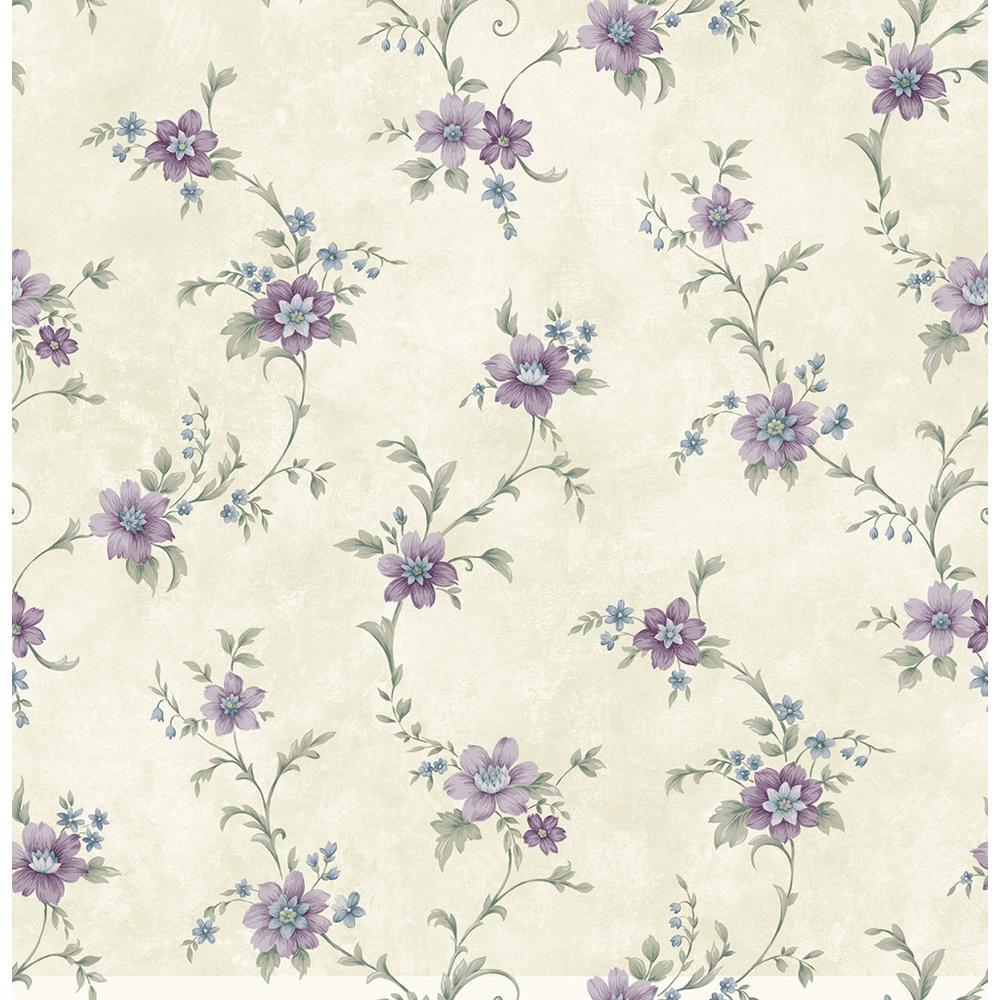Elizabeth Purple Floral Trail Wallpaper