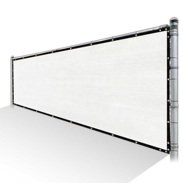 3 ft. x 34 ft. White Privacy Fence Screen Mesh Cover Screen with Reinforced Grommets for Garden Fence (Custom Size)
