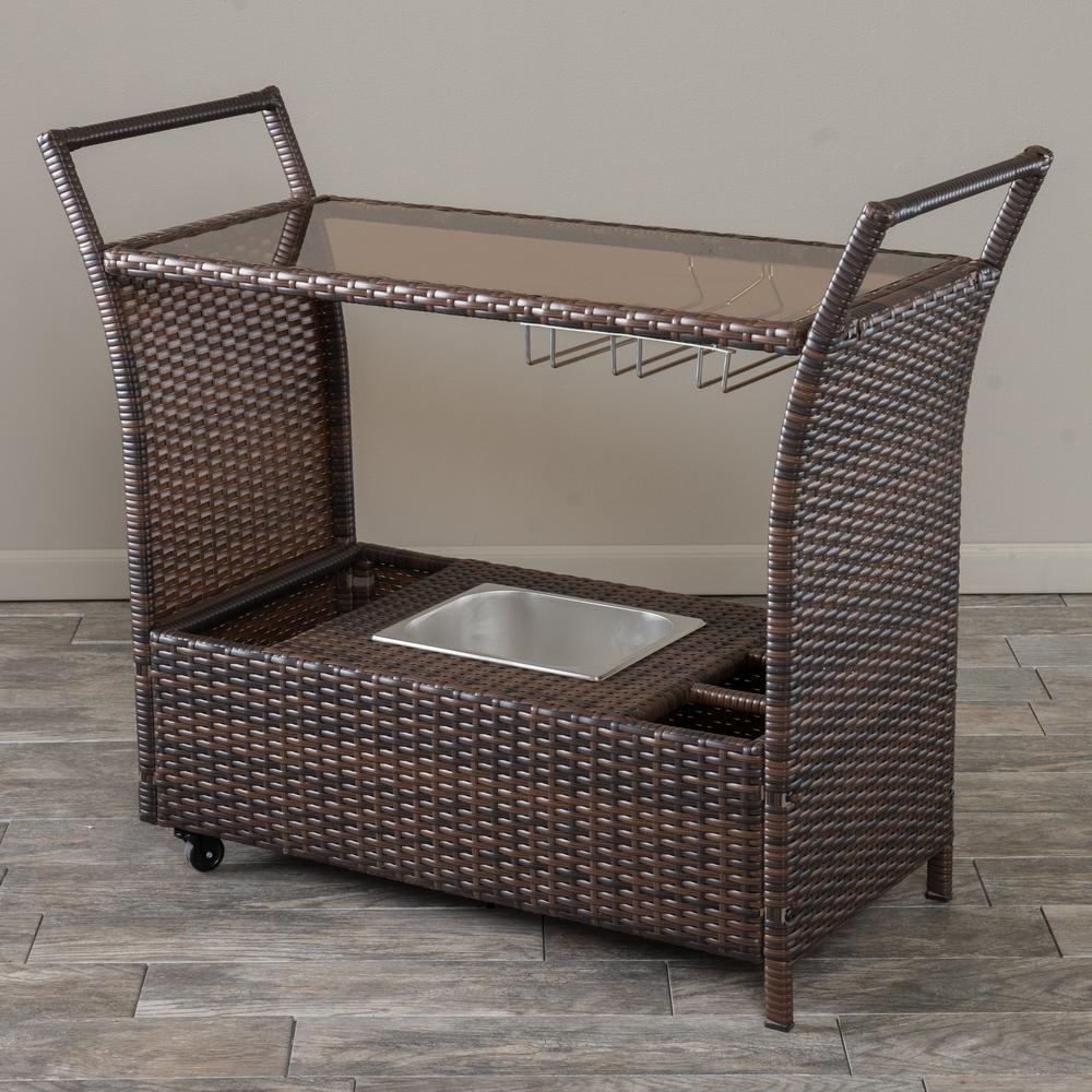 Noble House Bahama Wicker Outdoor Serving Bar with Ice Bucket