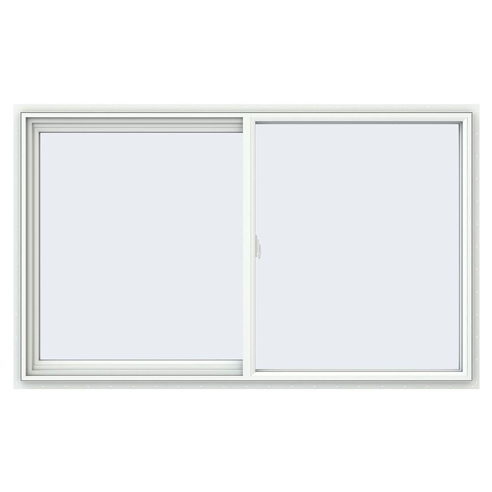 59.5 in. x 35.5 in. V-2500 Series White Vinyl Left-Handed Sliding Window with Fiberglass Mesh Screen
