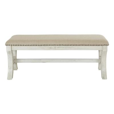 48 in. Antique White Base with Linen Fabric K/D Bench