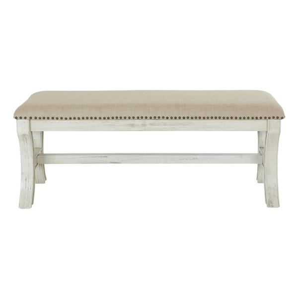 OSP Home Furnishings 48 in. Antique White Base with Linen Fabric