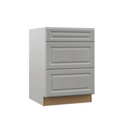 Elgin Assembled 24x34.5x23.75 in. Drawer Base Kitchen Cabinet in Heron Gray