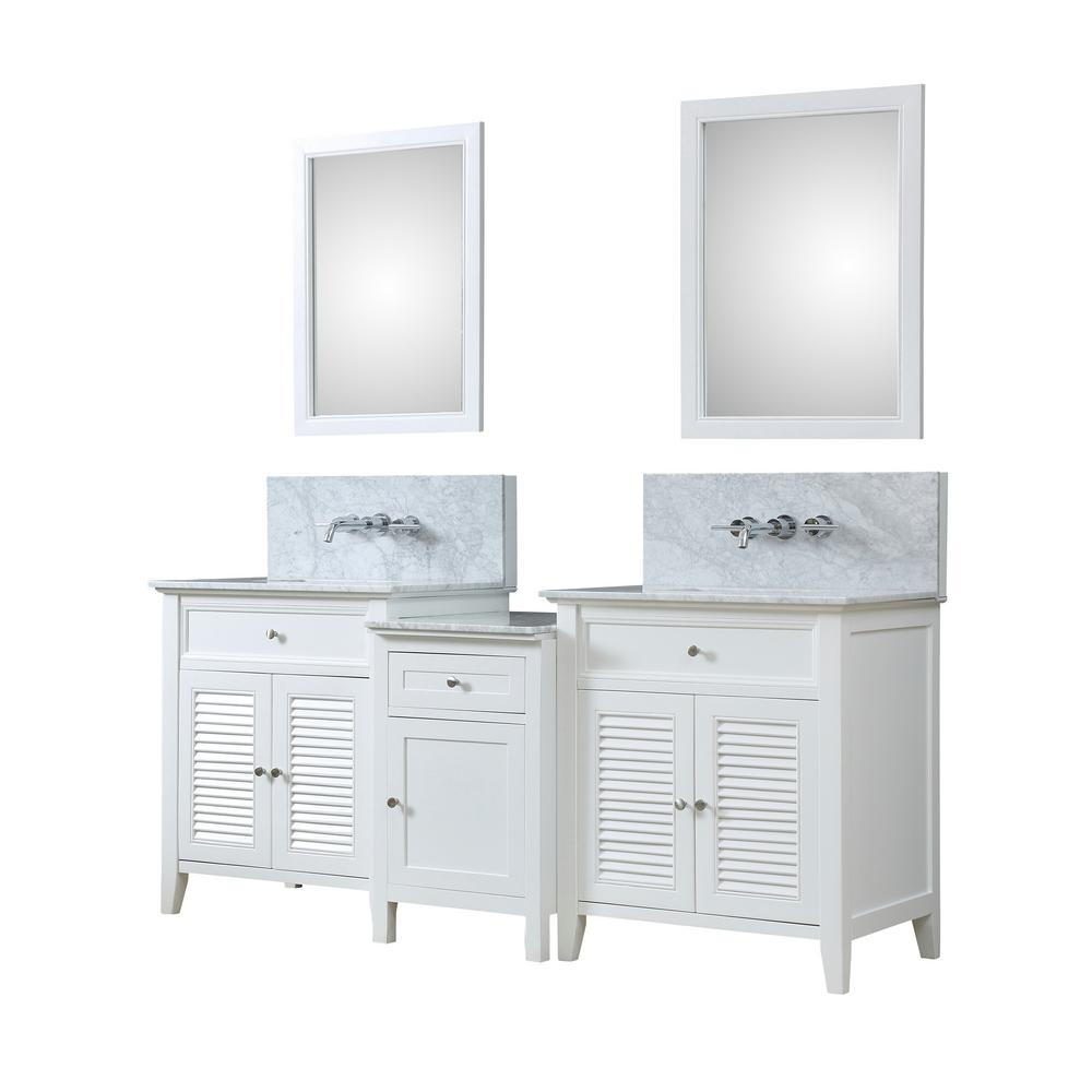Direct vanity sink shutter premium hybrid bath makeup 82 in w vanity in white with