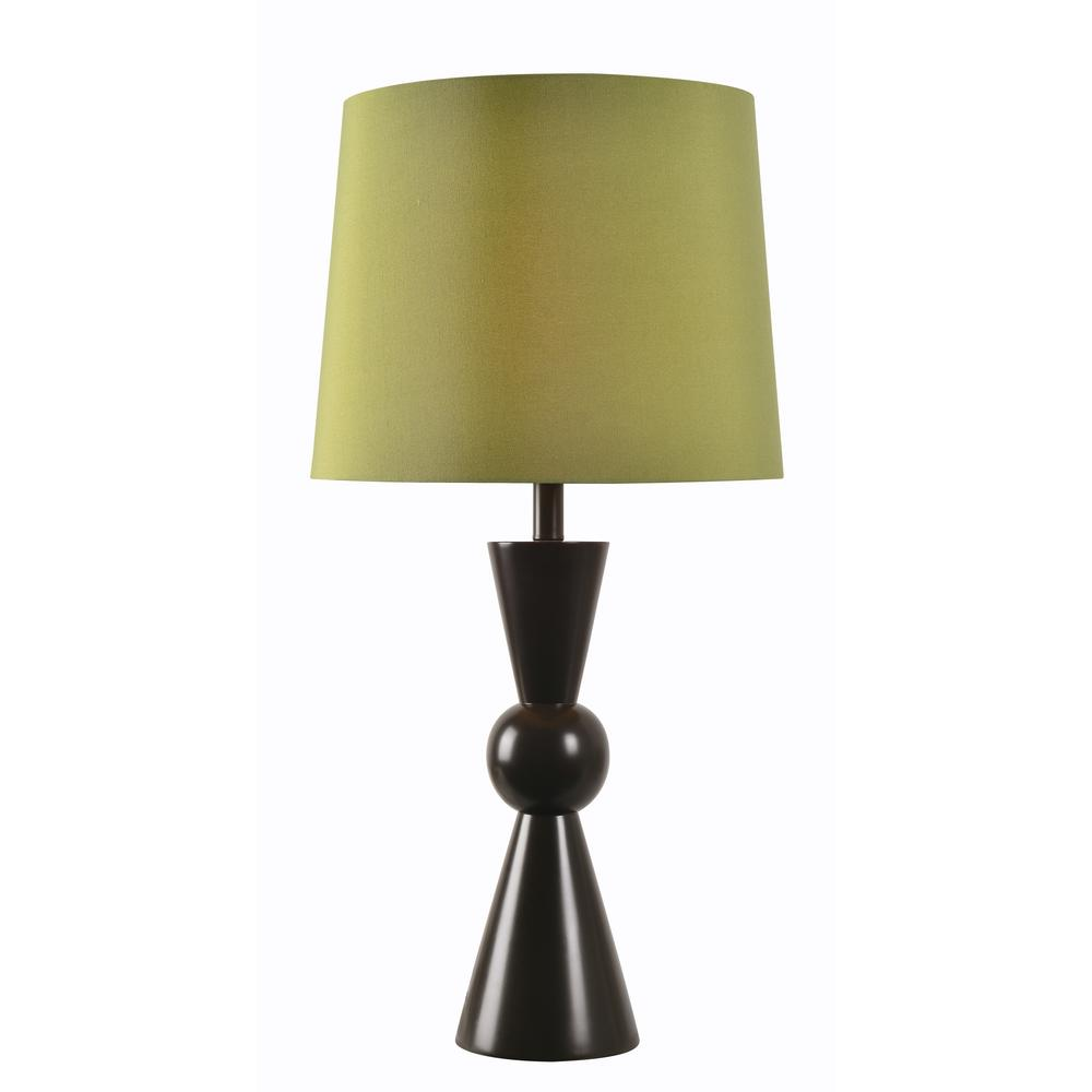 Valetta 30 in. Black Outdoor Table Lamp with Green Shade Tapered
