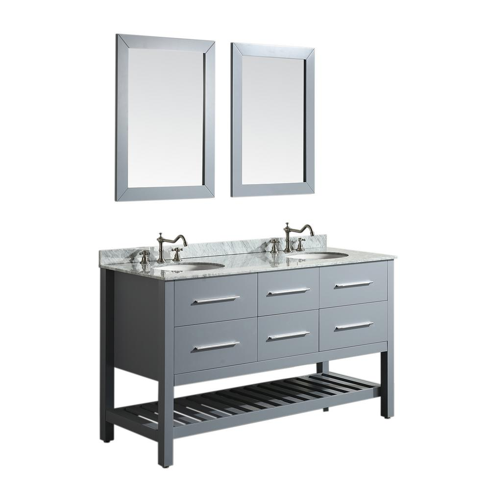 Bosconi Bosconi 60 in. W Double Bath Vanity in Gray with White Carrara Marble Vanity Top in White with White Basin and Mirror