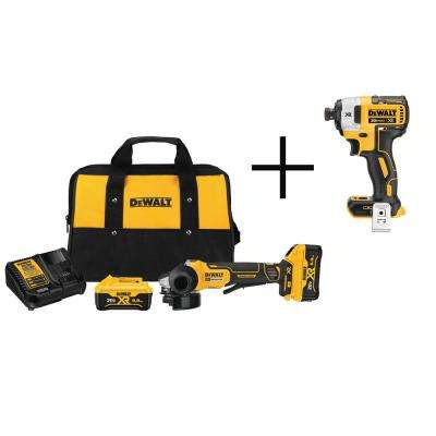 4-1/2 in. 20-Volt MAX XR Lithium-Ion Cordless Brushless Paddle Switch Angle Grinder Kit with Free Impact Driver