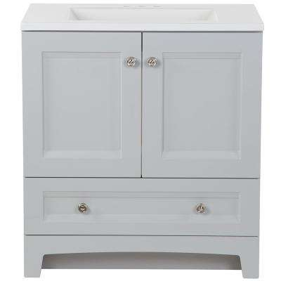 Delridge 30 in. W x 19 in. D Bath Vanity in Pearl Gray with Cultured Marble Vanity Top in White with White Sink
