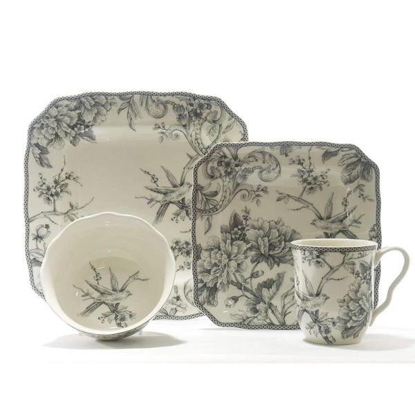 Adelaide 16-Piece Casual White and Grey Porcelain Dinnerware Set (Service for 4)