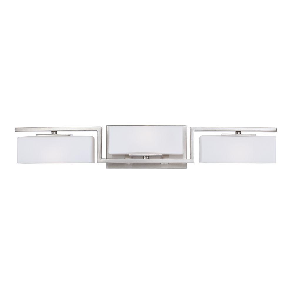 Designers Fountain Meridian Light Satin Platinum Interior Halogen - Halogen bathroom vanity lights