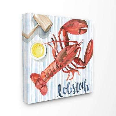 """24 in. x 24 in. """"Striped Seafood Watercolor Summer Lobster with Butter""""by Artist Jennifer Paxton Parker Canvas Wall Art"""