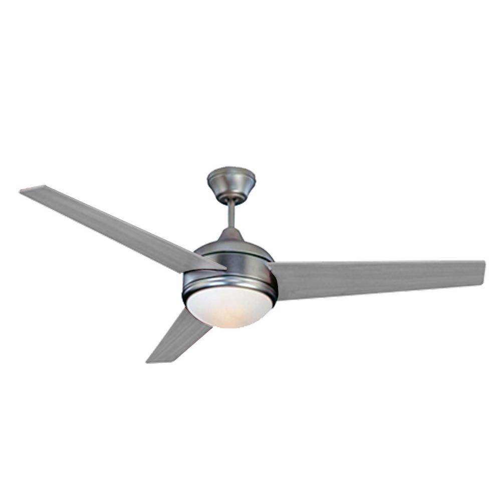 HomeSelects Contempo 52 in. LED Brushed Nickel Ceiling Fan with Downrod Mount